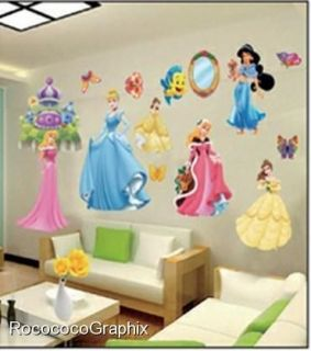 LARGE WALL STICKERS DISNEY PRINCESS CHILDREN KIDS BEDROOM DECOR