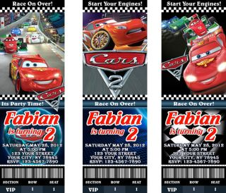 Disney Pixar Cars 2 Mcqueen Birthday Party Personalized Ticket