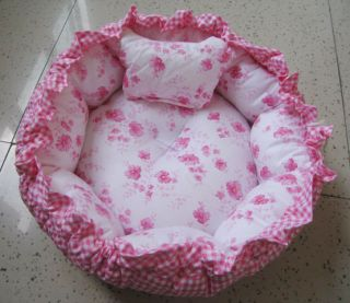 New Soft Dog Cat Pet Kennel Bed & Mat Pink Flower Double Sides Usable