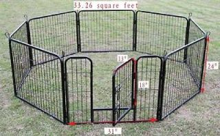 New Black 8 Panel 24 Heavy Duty Pet Playpen Dog Exercise Pen Cat