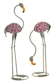 iron pink bead art glass flamingo yard lawn garden statue stakes