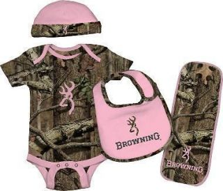 BROWNING BABY CAMO 4 PIECE SET OUTFIT BEANIE BURP BIB TOO CUTE PINK