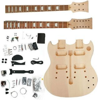 DOUBLE NECK SG STYLE 12/6 ELECTRIC GUITAR COMPLETED OR DIY GUITAR KIT
