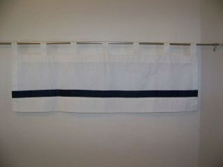 COUNTRY CURTAIN SET OF 2 WHITE WITH NAVY BLUE STRIPE TAB TOP VALANCES