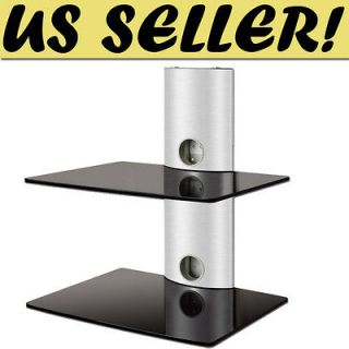 SILVER Wall Mount 2 Shelf AV Component DVD Player Cable Box Glass