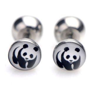 2x Earring Acrylic Ear Stud Stainless Steel Plug Panda
