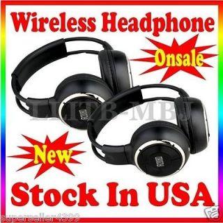 2x Wireless Headphones In Car Pillow Headrest DVD Player IR US Stock