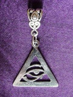 Horus/Providence Pewter Pendant on Leather Necklace. Egypt Illuminati