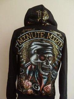 Minute Mirth Skull Bandit Tattoo Hood Jacket Black XL