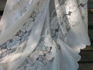 ROSES ON NET LACE SHEER WHITE SCALLOPED CURTAIN DRAPE PANEL PAIR