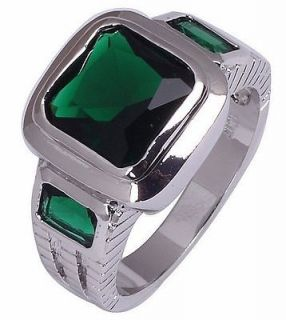 Size 8,9,10,11 Jewelry New Mans Green Emerald 10KT White Gold Filled
