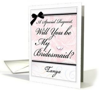 You be My Bridesmaid ? Bridal Party Invitation Cards CUSTOMIZE   Pink