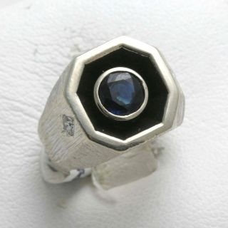 white gold Mens Sapphire Diamond Ring Engraved pinky blue Man Vintage