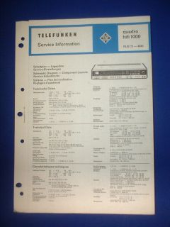 QUADRO HIFI 1000 SERVICE INFORMATION ORIGINAL ENGLISH GERMAN FRENCH