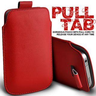 RED PULL TAB LEATHER POUCH CASE SKIN COVER FOR SONY ERICSSON W8