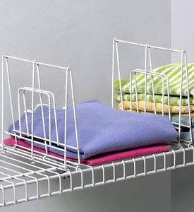 White Wire Shelf Divider wire Slide on closet organizer