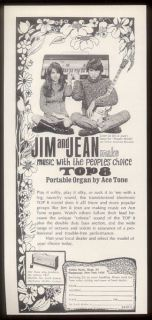1968 Jim and Jean photo Sorkin Ace Tone TOP 8 portable organ print ad