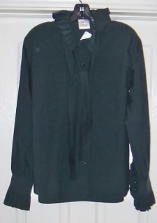 FAB NWT $1990 CHANEL 11A logo Buttons Ruffled w Tie SHIRT Olive