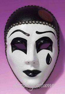 pierrot mime mask artist halloween black white tear costume accessory