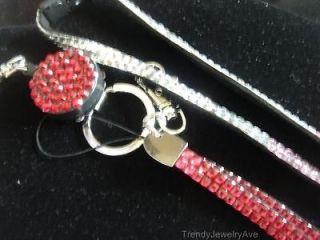 Reel pink Rhinestone Badge ID Lanyard Eyeglass Holder Necklace