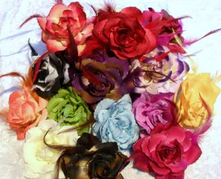 Fabric ROSE FLOWER Feather HAIR CLIP PONIO Elastic Scrunchie Corsage