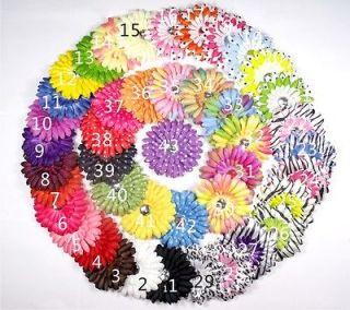 20+20 Baby Girl Daisy Fabric Flower Hair Bow Clip Headband Party
