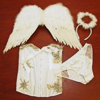 Victorias Secret Costume Sexy Little Angel Wings Bling Pearls