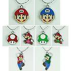 Mario Bros brothers One Up Charm Necklaces Birthday Party Gifts BIN