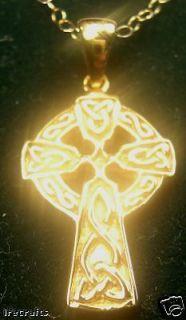 14k Gold Sterling Silver Celtic Cross Pendant Necklace Irish Made