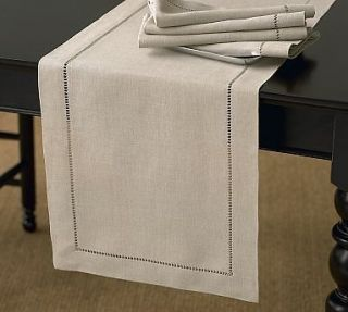 Classic Hemstitched Natural Table Runner   18x108 Rectangular