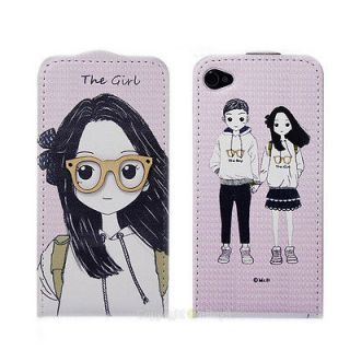 3D Girl Phone sets couple PU Leather flip skin case cover For iphone 4
