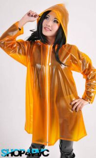 Funky Womens Waterproof PVC Fashion Jacket Plastic Raincoat With