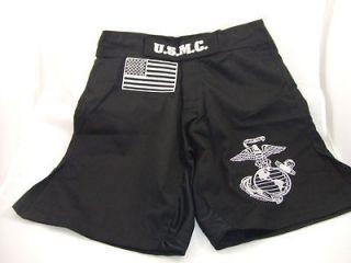 USMC MARINES COMBATANT MMA PT STREET BLACK BOARD SHORTS FIGHT SHORTS