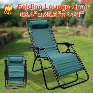 Folding Zero Gravity Recliner Lounge Chair Long Beach Chair Patio Pool