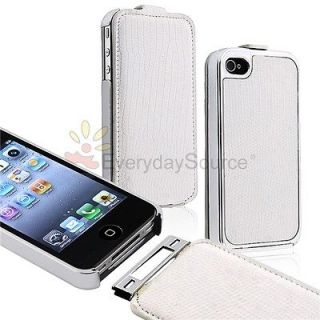 Deluxe Snake Flip Leather Chrome Case Cover Skin for Apple iPhone 4S 4