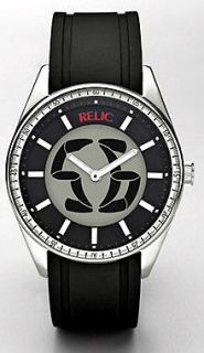 RELIC FOSSIL Men Watch ZR55259 Black Silicone Stainless Steel BIG TIC
