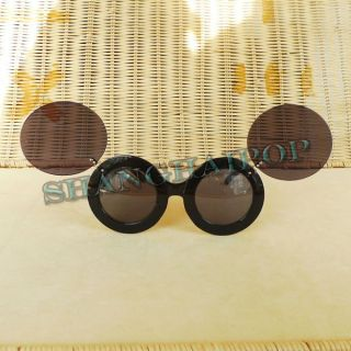Flip Up Sunglasses Lady Gaga Round Lens Large Sunnies Shade Leopard