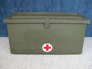 Vintage Military Style Footlocker With Medic Sign On The Front