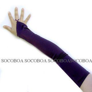 Purple Plum Fingerless Satin costume Opera Gloves over the elbow 23
