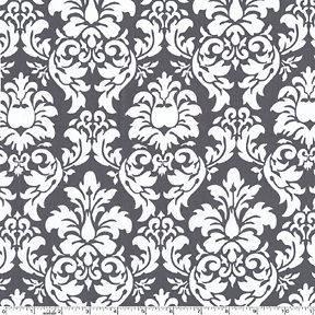 Gray Dandy Damask, Michael Miller, White Designer Cotton Fabric Baby