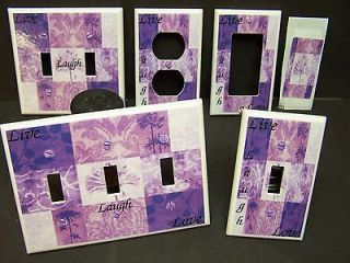 LIVE LAUGH LOVE NINE PATCH SHADES OF PURPLE LIGHT SWITCH COVER PLATE