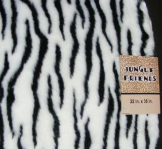 WHITE ZEBRA Faux Fur RUG 30x42 NON SLIP Back Jungle Friends Bath/Area