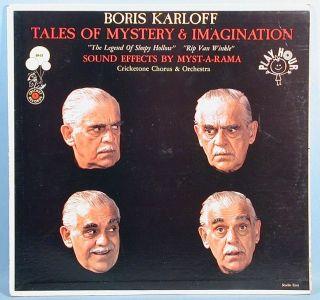 Boris Karloff 3 Narrative LP Records 1959 to 1965 Tales of Mystery