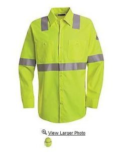 Hi Visibility   Flame Resistant Long Sleeve Work Shirt HRC2 SMW4