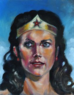 Wonder Woman Linda Carter Original Art Comic Oil Painting