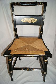 HITCHCOCK STYLE SIDE CHAIR BLACK WITH GOLD TRIM WITH RUSH SEAT 34