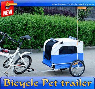 Large Portable Pet Dog Bicycle Bike Trailer Folding Blue White Carrier