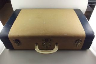 Vintage 1920s 1940s Luggage Suitcase Hard Side Valise Cream Plaid