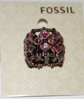 NWT Fossil Black Metal Berry Bling Stretch Band Ring w/Pink Plum