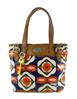 Fossil Key Per Shopper Coated Canvas Handbag Blue Floral New